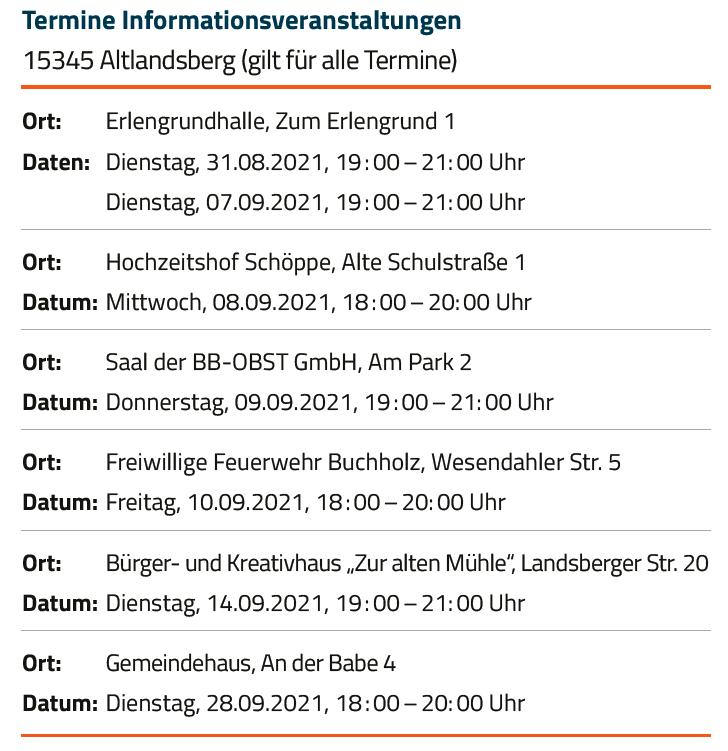 Termine Informationsveranstaltungen Altlandsberg